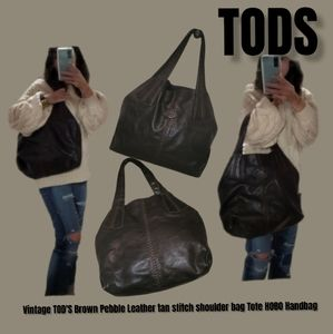 Vintage TOD'S Brown Pebble Leather tan stitch shoulder bag Tote HOBO Handbag